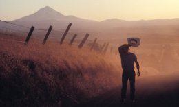 Man Walking on Dusty Rural Road